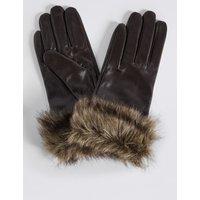 Leather Fur Cuff Gloves chocolate