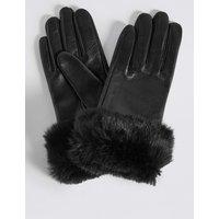 Leather Fur Cuff Gloves black