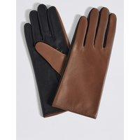 Leather Colour Block Gloves light tan mix