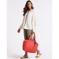 Faux Leather Reversible Shopper Bag coral mix