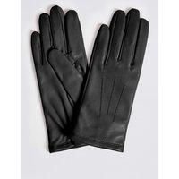 Leather Stitch Detail Gloves black