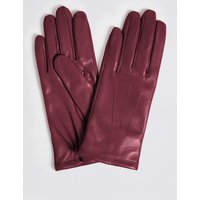 Leather Stitch Detail Gloves raspberry