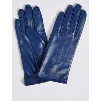 Leather Stitch Detail Gloves cobalt