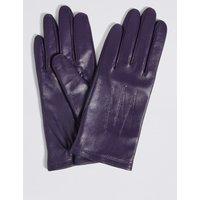 Leather Stitch Detail Gloves purple