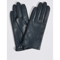 Leather Stitch Detail Gloves navy
