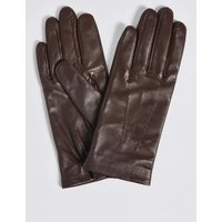 Leather Stitch Detail Gloves chocolate