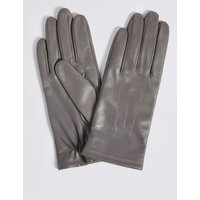 Leather Stitch Detail Gloves grey