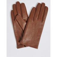 Leather Stitch Detail Gloves dark tan