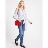 Faux Leather Push Lock Shoulder Bag red