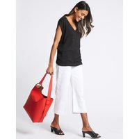 Faux Leather Ring Slouch Shoulder Bag flame