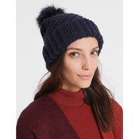 Fur Bobble Winter Hat navy