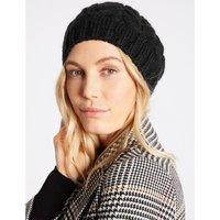 Cable Knit Beret Hat black