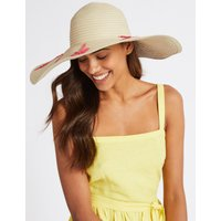 Embroidered Floppy Hat natural