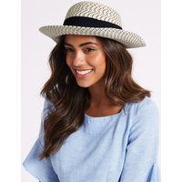 Textured Scarf Trim Sun Hat navy