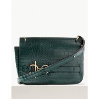 Faux Leather Ring Detail Cross Body Bag teal