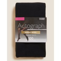 100 Denier Merino Wool Blend Opaque Tights black