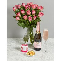 The Chelsea Celebration Gift with 22 Flowers and Pink Sparkling Wine