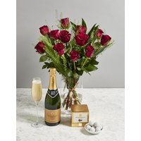 The Valentine's Celebrations Gift with Roses and Vintage Champagne (Pre-Order: Available from 9th February 2018)