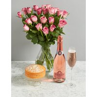 The Victoria Celebration Gift with 22 Flowers and Pink Sparkling Wine