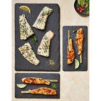 Sticky Salmon Skewers & Lemon & Herb Flatties