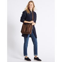 MandS Collection Faux Leather Metal Tab Messenger Bag