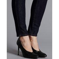 Autograph Leather Stiletto Heel High Cut Court Shoes