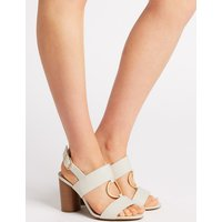 M&S Collection Wide Fit Block Heel Two Band Ring Sandals