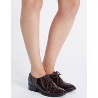 M&S Collection Wide Fit Block Heel Lace-up Brogue Shoes