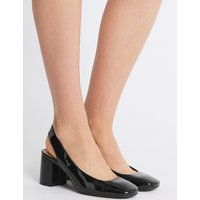 M&S Collection Wide Fit Block Heel Slingback Court Shoes