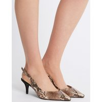 M&S Collection Wide Fit Kitten Heel Slingback Court Shoes