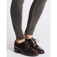 M&S Collection Wide Fit Leather Block Heel Brogue Shoes