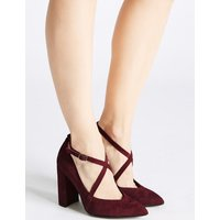 M&S Collection Suede Block Heel Cross Strap Court Shoes