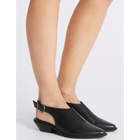 M&S Collection Leather Block Heel Slingback Shoes
