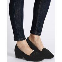 Footglove Wide Fit Suede Block Heel Court Shoes