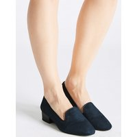 M&S Collection Wide Fit Suede Block Heel Pump Shoes