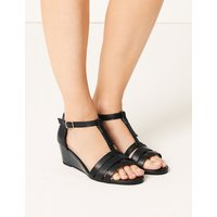 M&S Collection Leather Wide Fit Wedge Sandals