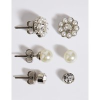 M S Collection Pearl Effect   Dainty Diamant   Stud Trio Earrings Set