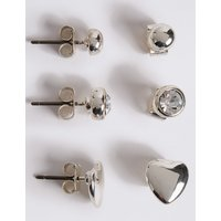 M S Collection Silver Plated Assorted Stud Trio Earrings Set