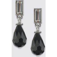 M S Collection Multi Faceted Tear Drop Earrings