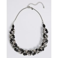 M S Collection Multi Faceted Assorted Bead Twist Necklace