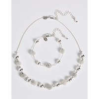 M&S Collection Silver Plated Sandblast Necklace & Bracelet Set at Marks and Spencer Online