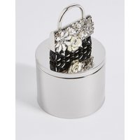 M S Collection Diamant     Pearl Effect Encrusted Bag Trinket Box