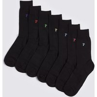 M&S Collection 7 Pack Alphabet P Freshfeet Socks