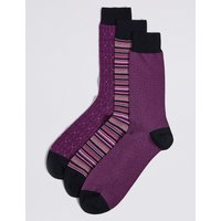3 Pairs of Cotton Rich Multi Design Socks