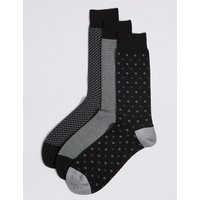 M&S Collection Luxury 3 Pairs of Cotton Rich Socks
