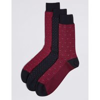M&S Collection Luxury 3 Pairs of Cotton Rich Multi Design Socks