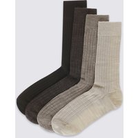 M&S Collection 4 Pairs of Lambswool Rich Socks
