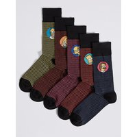 M&S Collection 5 Pairs of Cotton Rich Striped Socks