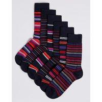M&S Collection 6 Odd Cotton Rich Striped Socks