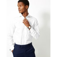 M&S Collection Luxury Pure Cotton Easy to Iron Slim Fit Shirt at Marks and Spencer Online